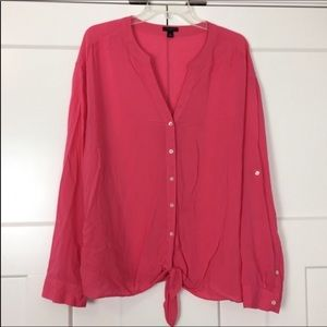 Ann Taylor coral long sleeve tie front top